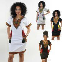 vestidos de tela india al por mayor-Vestidos africanos para las mujeres Impresión India Tallas grandes Ropa Dashiki Robe Femme Boho Dashiki Tela Verano Sexy Hippie