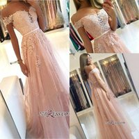 Wholesale tulle blush prom dresses resale online - 2019 Blush Pink Off Shoulders Lace Tulle Prom Dresses A Line Applique Backless Full Length Plus Size Evening Gowns Formal BC0418