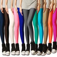 pantalones de enchufe al por mayor-2019 New Spring Solid Candy Neon Leggings para mujer Pantalones de legging femeninos de alto estiramiento Ropa de niña Leggins Tamaño de enchufe Negro