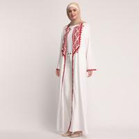 túnicas blancas islámicas al por mayor-Vestido de gasa Abaya musulmán blanco Dubai Turquía Kaftan Abayas para mujeres Jilbab Ramadan Robe Caftan turco islámico