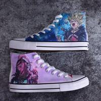 ingrosso scarpe di tela giapponesi-WHOHOLL Uomo Causale Vulcanizza Scarpe Anime giapponesi Stampa Scarpe Moda Uomo Canvas Graffiti Goku Flat