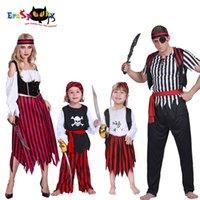 halloween kostümleri jack toptan satış-Boys Korsan Kostüm Halloween kılık Yetişkin Carnival Parti Jack Sparrow Cosplay Çocuklar Kafatası Karayip Aile Eşleştirme ClothesMX190921