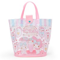 ingrosso borse in plastica in pvc-Cute Cartoon Pink Little Twin Stars PVC trasparente in plastica impermeabile Top maniglie borsa grande Tote Bags Borsa da spiaggia per donna