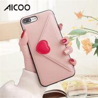 sobres x al por mayor-AICOO Love Envelope Estuches para teléfonos móviles con tarjeta de bolsillo Moda Funda protectora para el iPhone XS MAX XR X OPP