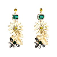 модные аксессуары для цветов оптовых- Crystal Alloy Flowers Charms Dangle Earrings For Women Fashion Accessories Bohemian Style Statement Earrings Jewelry