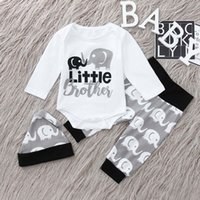 Wholesale costume for boys animals online - Newborn Infant Baby Boy Letter Romper Tops Cartoon Pants Hat Clothes Outfit Set costume for baby ropa recien nacido