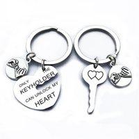 Wholesale couple keyring heart resale online - ONLY the keyholder can Heart Keychain Key Ring Heart Pendant Couple Keyring for Lovers Valentine s Day Birthday