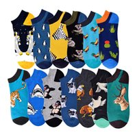 Wholesale ankle socks animal resale online - Summer Astronaut Pug Sloth Happy Chicken Crew Street Socks Ankle Cotton Short Funny Women Men Boat Socks Male Sock Slippers