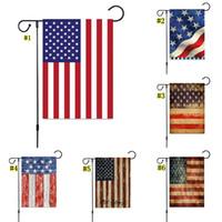 suministros de fiesta de estados unidos al por mayor-Artículos de fiesta 30 * 45cm de lino doble cara EE.UU. decoración del partido banderas EE.UU. Jardín raya de la bandera americana Bandera Jardín Banner Banderas MMA1797-6