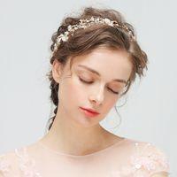 accesorios para el cabello celta al por mayor-Himstory Tiara nupcial floral de la boda Diadema de plata / oro Tiara Hairband con perlas Rhinestones Vine Celada Accesorio para el cabello