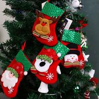 ingrosso ornamenti diy crafts-Prezzo basso 4PCS DIY Craft Vivid Charme ornamenti del partito Santa Socks Decorazione di Festival Decorazioni per l'albero di Natale 274