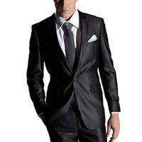 vestidos de dos piezas estilos hombres al por mayor-Vestido de estilo italiano negro de dos piezas para hombres Tres piezas (chaqueta + chaleco + pantalones) Ajuste de 2 botones Ideal para bodas Ocasiones ocasionales