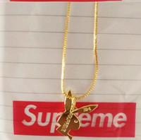 14 vergoldet großhandel-Superme Kaninchen Lange Halskette für Männer und Frauen 14 Karat vergoldet Halskette Hiphop MARKE Charme Kette Hip Hop Schmuck Weihnachtsgeschenke