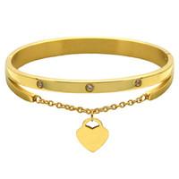 Wholesale heart lobster clasp chain bracelet online - Brand Jewelry Pulseira Rose Gold Stainless Steel Bracelets Designer Bangles Female Heart Forever Love Bracelet For Women