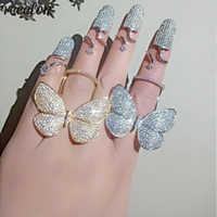 925 kelebek yüzük toptan satış-Vecalon 2 renkler Uçan kelebek Yüzük 925 ayar gümüş Mirco açacağı Elmas Parti Düğün Band yüzükler kadınlar Takı için