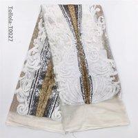 erstaunliches spitzengewebe großhandel-Erstaunliche pailletten spitze stoff weiß 3d blume stoff hochwertige afrikanische tüll pailletten stoff für brautkleider