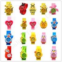 tokat saatler toptan satış-Çocuklar 3D Karikatür Clap Saatler Çocuk Bebek tokat İzle Öğrenci Hediye saatı Silikon Bileklik Bilezik Jelly Renk Spor Saatler E1803