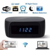 relojes de detección de movimiento al por mayor-EE. UU. UE Reino Unido Enchufe HD 1080P WiFi Cámara Reloj despertador con detección de movimiento IR Visión nocturna Seguridad Video en tiempo real Niñera Reloj