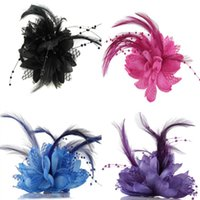 цветок булавки перья оптовых-Hot Women Ladies Flower Feather Bead Corsage Hair Clips Fascinator Bridal Hairband Brooch Pin
