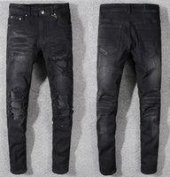 jeans de moda urbana venda por atacado-Maré marca homens designer casual respirável selvagem mens urbanos jeans moda novo homem boutique jeans stretch