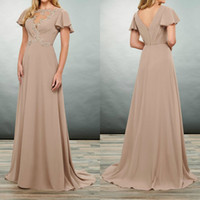 Wholesale elegant mother bride dresses chiffon short resale online - Elegant Light Brown Mother of the Bride Dresses Short Sleeves Chiffon Evening Party Gowns Floor Length A Line Wedding Guest Dress
