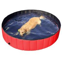 piscinas plegables al por mayor-Plegable Mascotas Perros Gatos Piscina para niños Cachorros Natación Bañera