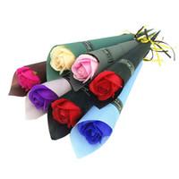 flores alaranjadas falsificadas do casamento venda por atacado-Corpo de Banho por atacado Rose Flor Sabonetes Perfeito Como Favores Do Casamento Presentes de Aniversário ou Decoração 6 Cores Flor Sabão Rosa