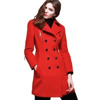 Wholesale design works coats online - Wool Coat Women Winter Long Slim Nice Fashion Doulbe Breasted Trench Coat Lady Work Wear Red Jacket Manteau Femme Hiver LX2464