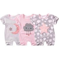 macacão de pijama venda por atacado-2019 bebê pijama meninos macacão macacão de verão nova manga curta roupas de bebê Romper algodão recém-nascido corpo terno