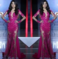 Wholesale miss world evening gowns for sale - Group buy Long Sleeves Lace Appliques Mermaid Fuchsia Custom See Through Sweep Train Formal Prom Dress Party Gowns New Miss World Evening Dresses