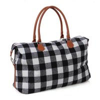 черный красный мешок totes оптовых-2 цвета Buffalo Check сумка красный черный плед сумки большой емкости для путешествий Tote с PU Ручка багажа Сумка повседневная сумка CA11411-1 10шт
