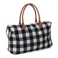 bolsa grande de equipaje negro al por mayor-2 colores Buffalo Comprobar Bolso Rojo Negro Plaid Bolsas de gran capacidad de asas del viaje de la PU con mango de viaje bolsa casual bolso CA11411-1 10pcs