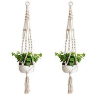 ingrosso piantare giardino di casa-Pianta Hanger Hook Flower Pot Handmade Knitting Cordone naturale Cesto di fioriera Cesto Casa Giardino Decorazione balcone