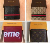 boks şort kadınları toptan satış-Yeni tasarımcı Tote cüzdan Yüksek Kalite Deri Erkekler kadınlar için kısa Cüzdan Erkekler Sikke çanta Debriyaj Çanta ile kutusu