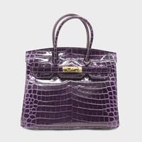 timsah derisi bayan çantası toptan satış-35 30 25 cm H K Mor Asma Kilit Çanta Tasarımcısı Marka Timsah Kabartmalı Hakiki Deri Kadın Tote Omuz Crossbody Çanta çanta Bayanlar