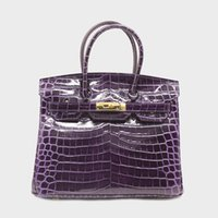 bolsa roxa de crocodilo venda por atacado-35 30 25 cm H K Roxo Padlock Designer Handbag Marca Crocodilo Em Relevo Genuíno Couro Mulheres Tote Ombro Sacos Crossbody Bolsas Das Senhoras