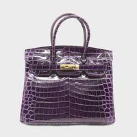 Wholesale purple crocodile handbag resale online - 35 cm H K Purple Padlock Designer Handbag Brand Crocodile Embossed Genuine Leather Women Tote Shoulder Crossbody Bags Handbags Ladies