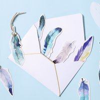 conjunto de tarjeta postal al por mayor-6 set / Lot Dream Feather marcadores para tarjetas postales Marcador memo de papel de color Papelería regalo Útiles escolares marcapaginas