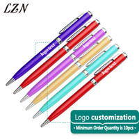 цветные металлы оптовых-LZN Colourful Stainless Steel Rod Rotating Metal Ballpoint Pen Commercial Gifts Office&School Stationery Free Engraved Logo/Text
