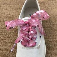 sapatas brancas bonitos do laço venda por atacado-Doce Bonito 2.8 cm Impressão Shoelaces 120 cm Sapatilha Bowknot Sapatos de Desporto Pequenos Sapatos Brancos Laços Para Mulheres Flats Lona