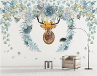 Wholesale bedroom art photos flowers for sale - 3d room wallpaper custom photo mural Nordic hand drawn flower elk background wall paper mural wall art canvas wallpaper for walls d