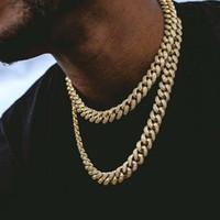 chaînes en or achat en gros de-Hip Hop Chaînes Bling Bijoux hommes GLACÉ Chaînes Collier 14k Or Argent Miami Chaînes de Cuba Lien