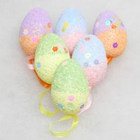 Wholesale easter eggs crafts resale online - 6Pcs Glitter Foam Easter Eggs Hanging Wreaths Crafts Decorations Ornaments Decor Party