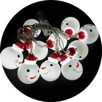 ingrosso lampadine di natale bianche-LED Battery Pupazzi di neve Lampadine di plastica colorate Lampade String Decorazione di festa di Natale Warm White Festival Articoli per la casa 9tl hh