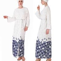 islamische blumen großhandel-2019 neue muslimische kleidung frauen islamische kleidung marokkanischen sommer blume abayas damen lange kaftane robe dubai abaya türkische kleidung