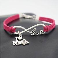 pulseira de couro do cão venda por atacado-Couro corda mão-de malha vermelha especial Infinito Amor I Love My Dog Cuff Charm Bracelet Pulseira Moda Mulheres Homens liga de prata Desejo Jóias