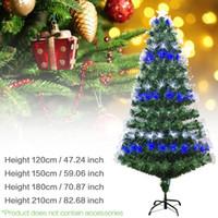 Wholesale green fiber optics resale online - Multi specification Colorful Optic Fiber Lamp Green Christmas Tree Iron Stand Home Festival Decoration