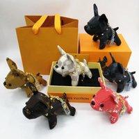 sosisli anahtarlık toptan satış-Sıcak Lüks Bulldog Anahtarlık Moda Araba Anahtarlıklar kadın ve erkek için Fransa köpek Kutusu ile Hediyeler için Paslanmaz Çelik Tasarımcı Anahtarlık RS-965
