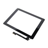 ipad ekran esnek kablo toptan satış-IPad 4 Için yedek takım Dokunmatik Ekran Dokunmatik Digitizer Ekranlar IC Ev Düğme Flex Kablo ipad 4,9.7 inç için Komple Meclisi,