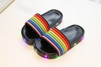 Wholesale rainbow slip resale online - Kids LED Light Rainbow Slippers Summer Children Flashing Jelly Candy Color Sandals Glowing Sequins Sandals Slip Non Girls Beach Shoes A5801